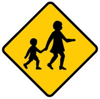 children may be crossing ahead