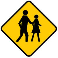 pedestrian may be crossing ahead