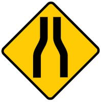 road narrows ahead