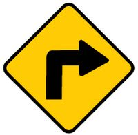 Sharp right turn ahead